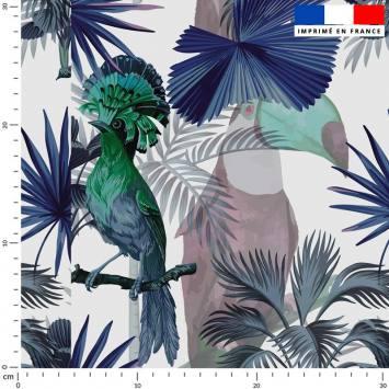 Jungle et oiseau porte-éventail roi bleu - Fond écru