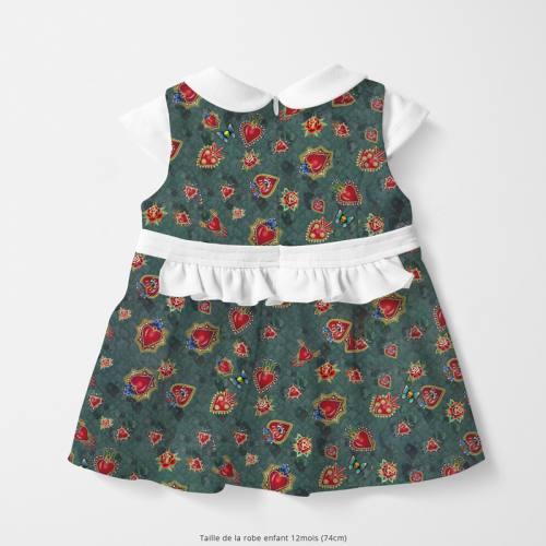 Coton bio vert motif coeur rouge Oeko-tex