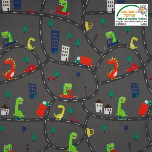 Popeline de coton gris foncé motif circuit de voiture et dinosaure Oeko-tex