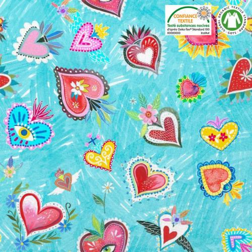 Coton bio bleu motif coeur et fleur Oeko-tex