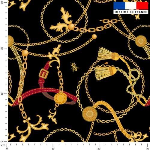 Chaines et abeilles dorées - Fond noir