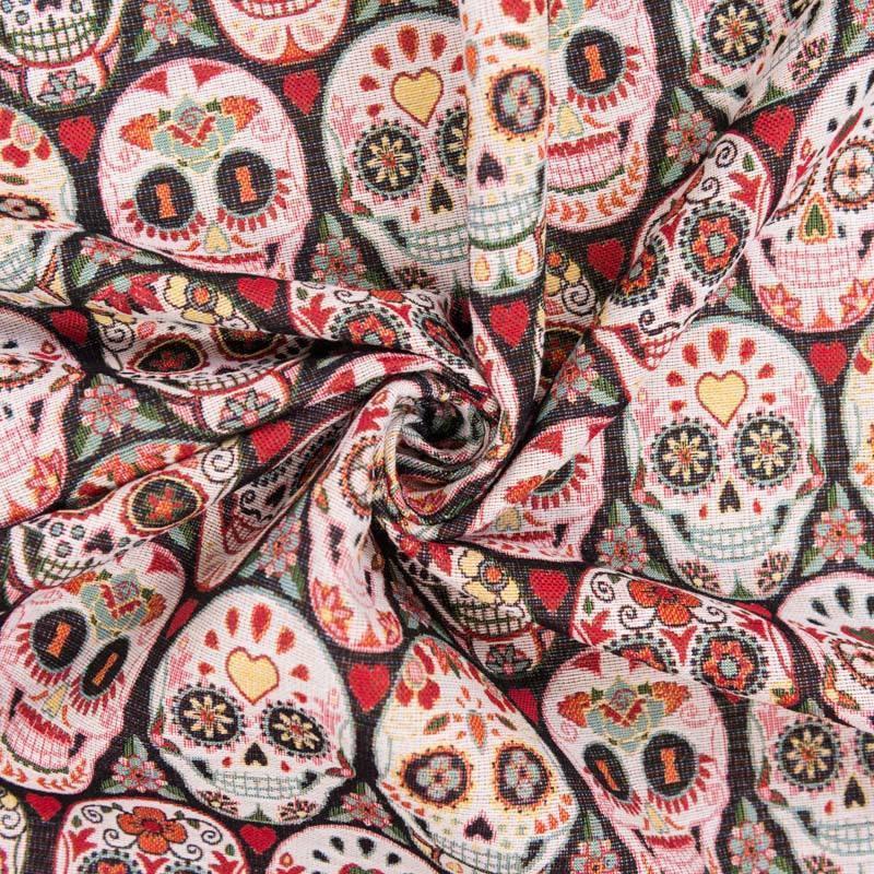 Coupon 50x68 cm - Jacquard multicolore motif calaveras