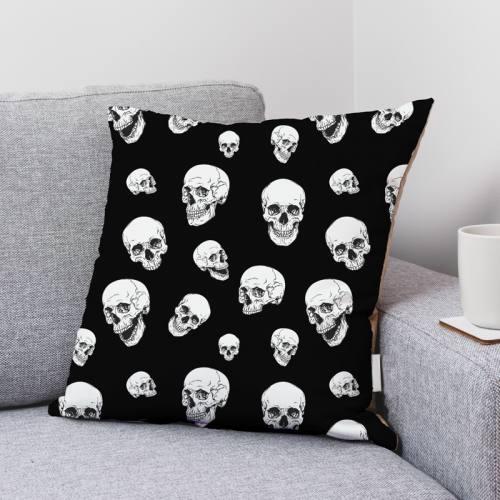 Coton noir motif tête de mort blanche Oeko-tex