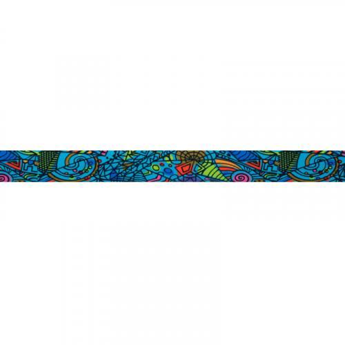 Biais fond bleu motif formes géométriques colorées