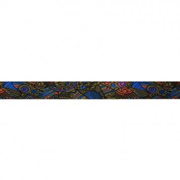 Biais fond kaki motif formes géométriques colorées