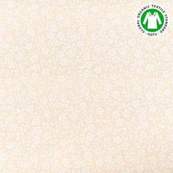 Coton bio naturel imprimé fleurs blanches