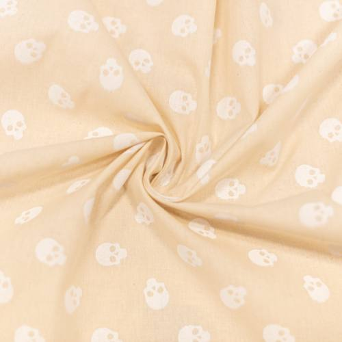 Coton bio naturel motif tête de mort blanche