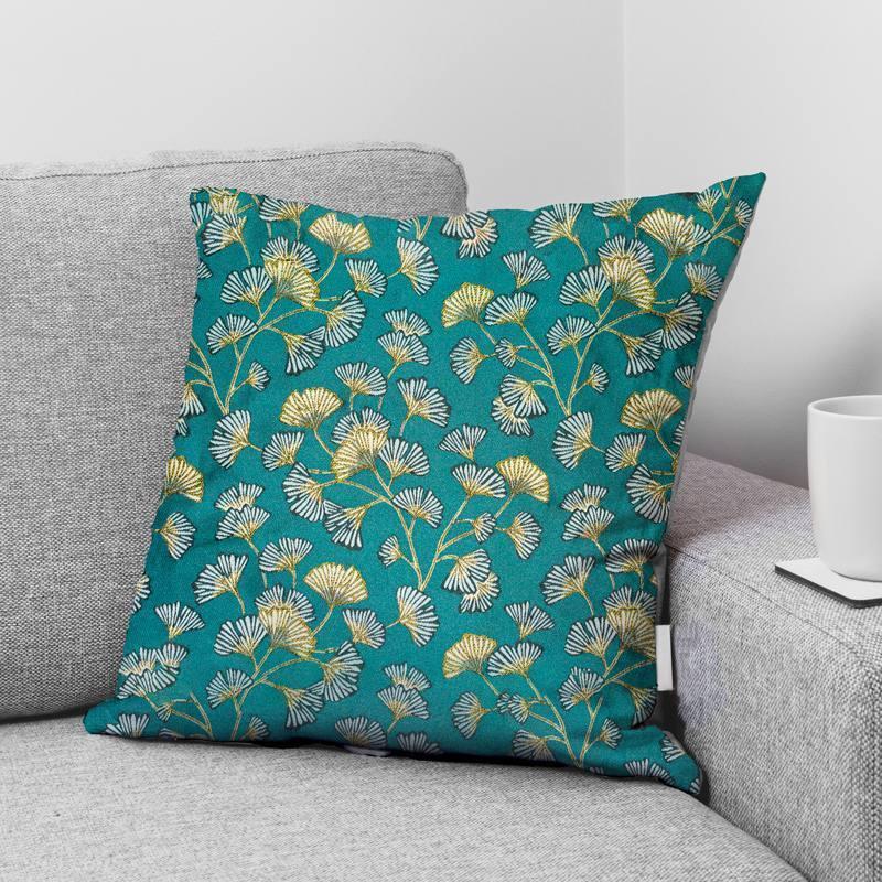 Coupon 50x68 cm - Jacquard bleu paon motif fleur en éventail ginkgo blanc Oeko-tex