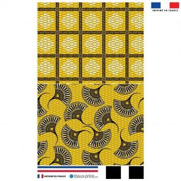 Kit pochette jaune motif éventail wax
