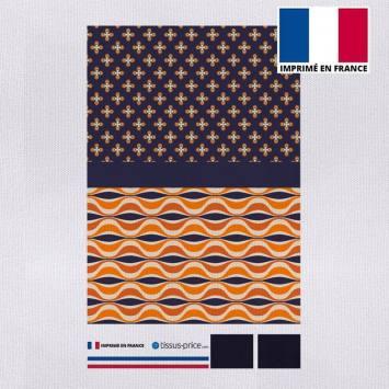 Kit pochette orange motif forme géométrique rétro