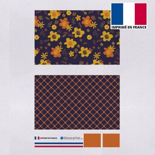 Kit pochette aubergine motif fleur seventies jaune et orange