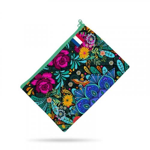 Kit pochette vert motif rosier