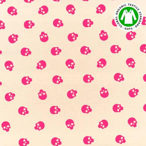 Coton bio naturel motif tête de mort rose fluo