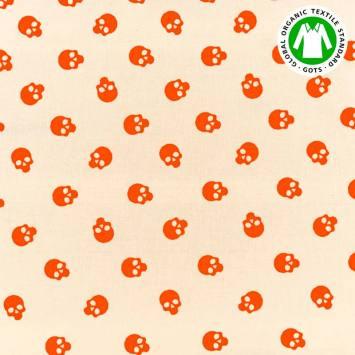 Coton bio naturel motif tête de mort orange fluo