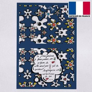 Kit pochette motif fleur poème bleu - Création Anne-Sophie Dozoul