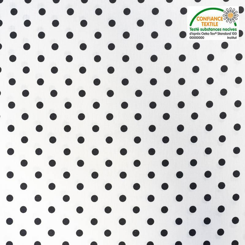 Coton blanc à pois noirs Oeko-tex