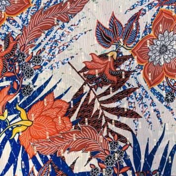 Crêpe georgette rouge motif fleur et dorures