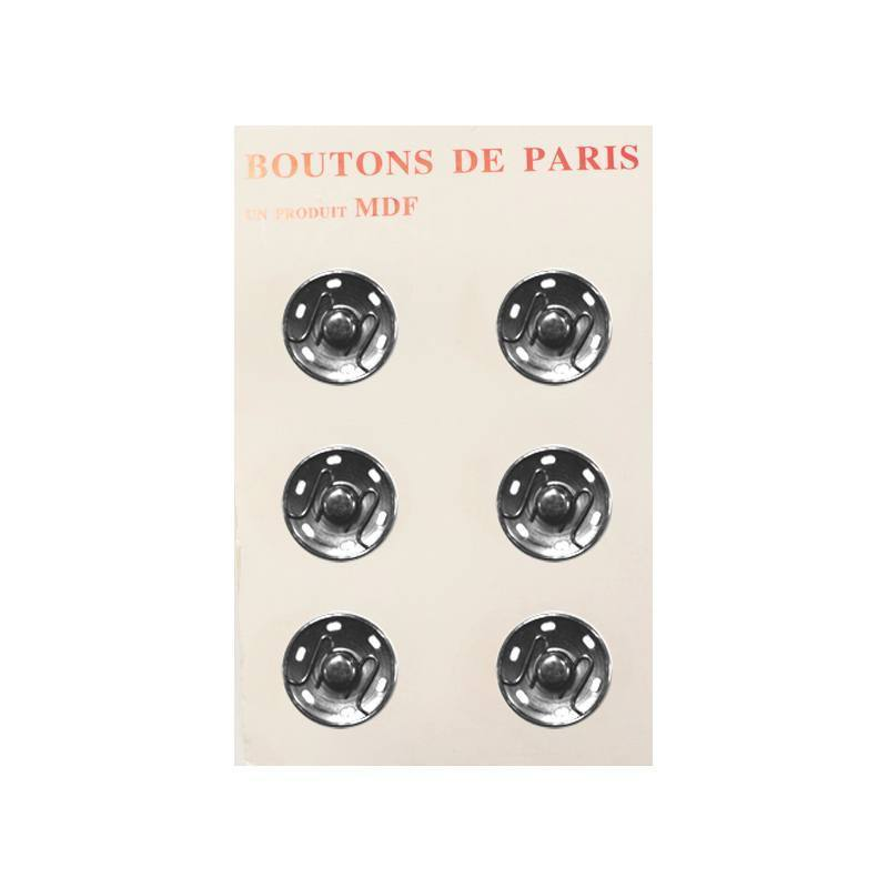 Boutons pression 25 mm nickelés X6