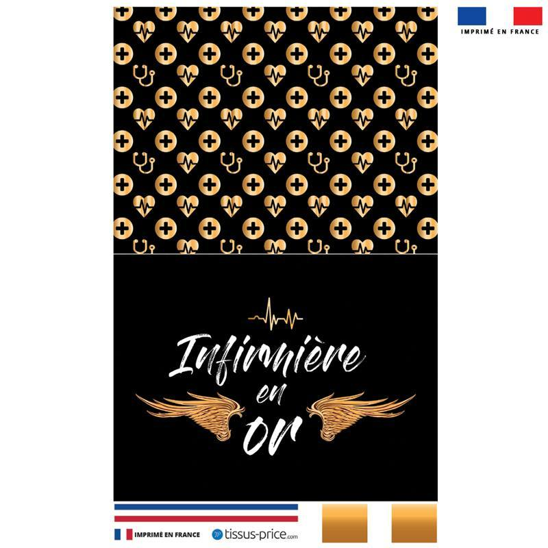 Kit pochette noir motif infirmière en or