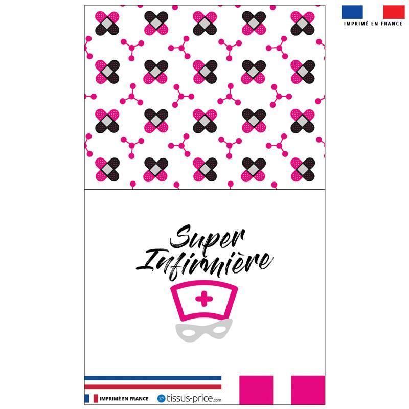 Kit pochette rose motif super infirmière