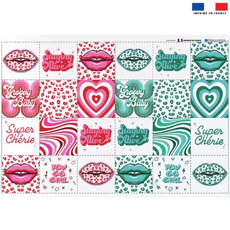 Coupon éponge pour lingettes démaquillantes motif disco rose et vert - Création Lou Picault