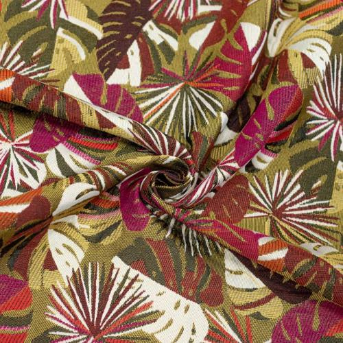Coupon 50x68 cm - Jacquard fuchsia motif feuilles de monstera dorées Oeko-tex