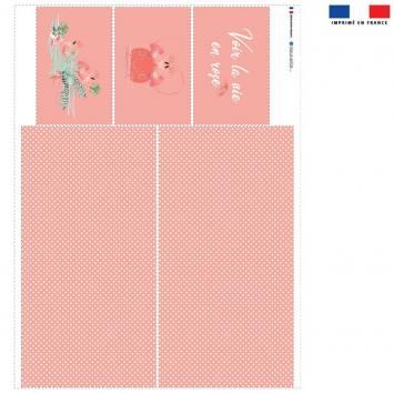 Coupon velours d'habillement pour vide-poches motif flamant rose