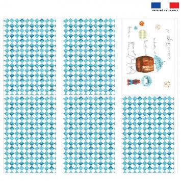 Coupon velours d'habillement pour tour de lit motif losange fusée - Création Marie-Eva