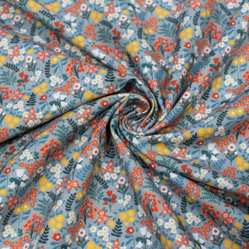 Coton bio gris bleuté motif fleuri jaune et rouge Oeko-tex