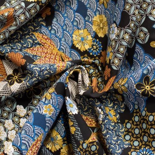 Tissu viscose noire motif japonais yin Oeko-tex