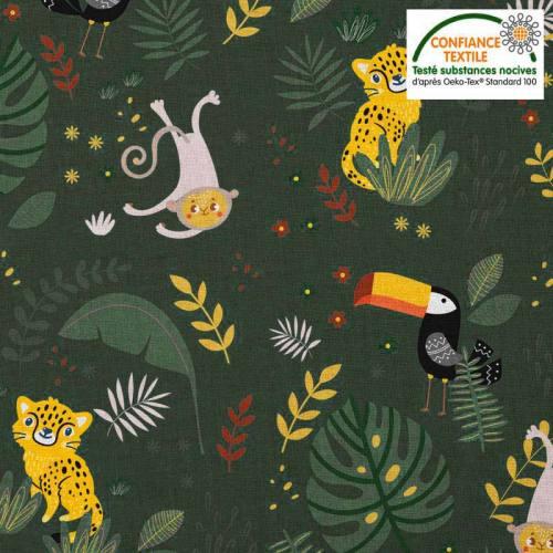 Coton vert motif animaux de la jungle