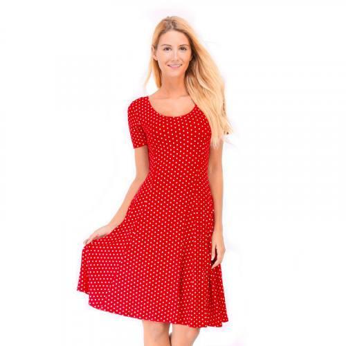 Tissu viscose rouge motif pois blanc Oeko-tex