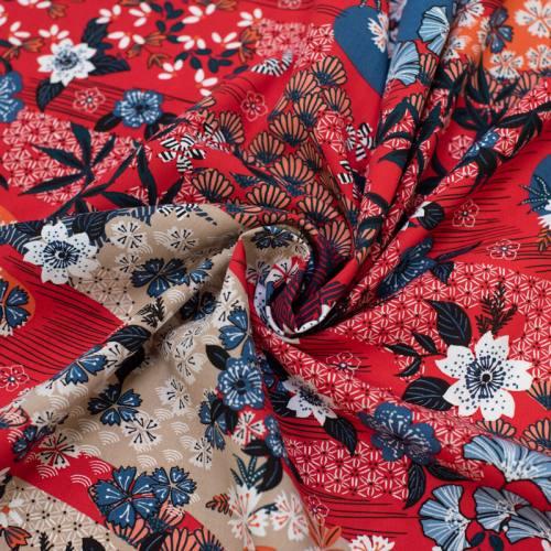 Tissu viscose rouge motif inspiration japonaise ayo Oeko-tex