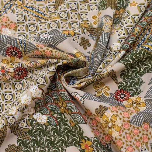 Tissu viscose lin motif japonais yin Oeko-tex