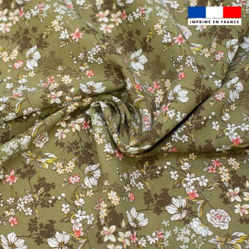Tissu viscose vert motif fleurs blanches et rouges anaïs Oeko-tex