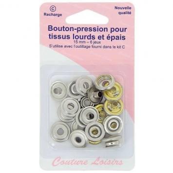 Boutons pression pour tissus lourds et épais - Nickel x6