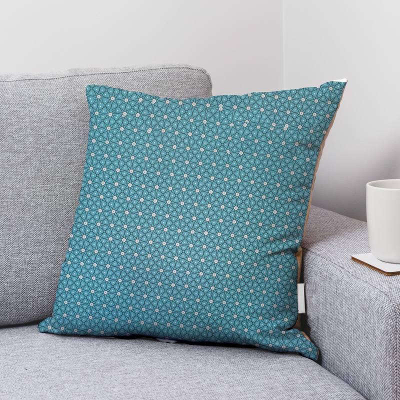 Coton bleu motif ceramik Oeko-tex