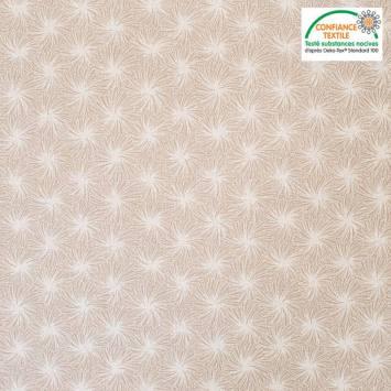Coton beige motif futon blanc Oeko-tex
