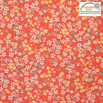 Coton corail motif japonais sakura Oeko-tex