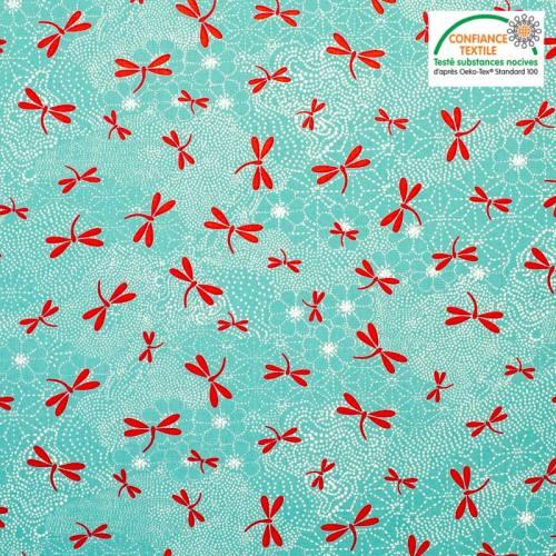 Coton enduit bleu turquoise motif libellule rouge Oeko-tex