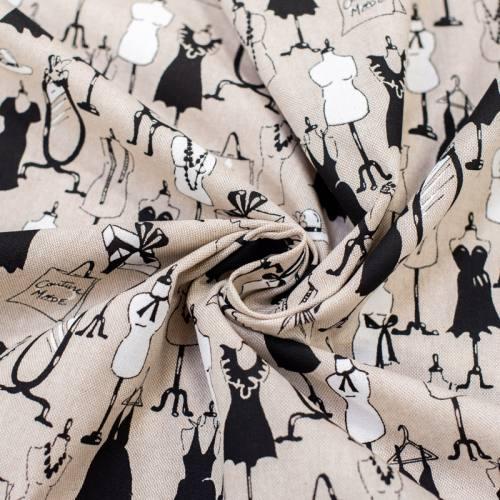 Toile polycoton beige imprimée dressing blanche et noire Oeko-tex