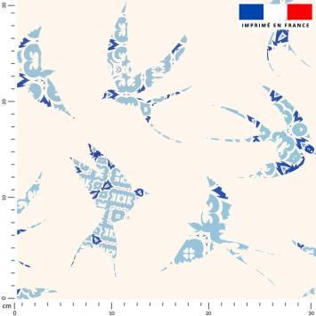 Hirondelle bleue - Fond crème