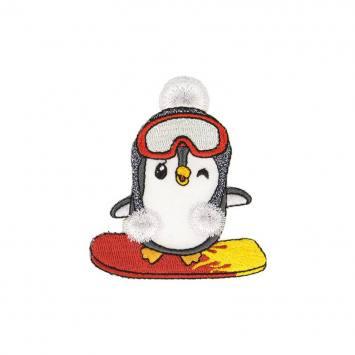 Écusson brodé pingouin au ski