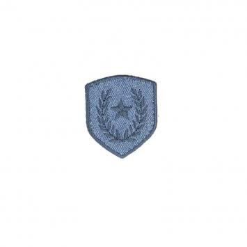 Ecusson blason thermocollant étoile et laurier bleu jean