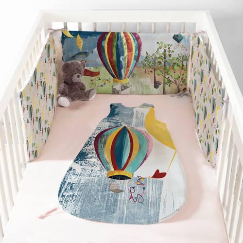 Coupon velours d'habillement pour tour de lit motif dirigeable - Création Marie-Eva