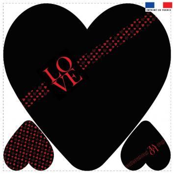 Coupon 45x45 cm forme coeur motif ruban LOVE