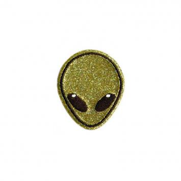 Ecusson brodé thermocollant alien paillettes or