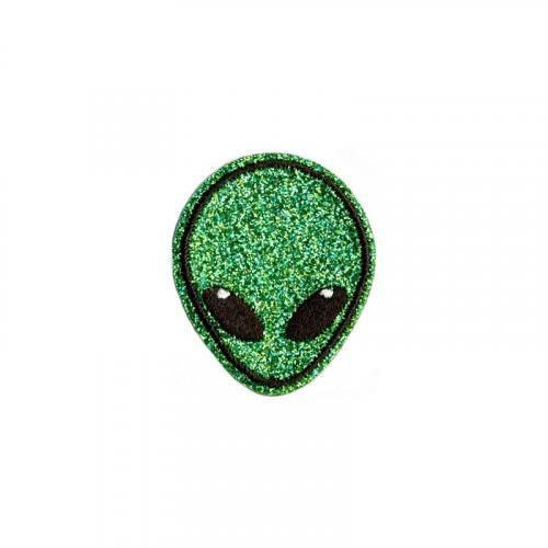 Ecusson brodé thermocollant alien paillettes vert