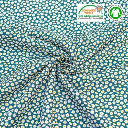 Coton bio motif marguerites blanches Oeko-tex