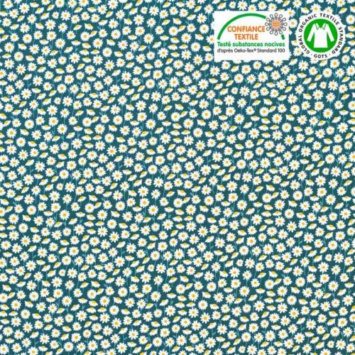 Coton bio vert anglais motif marguerites blanches Oeko-tex